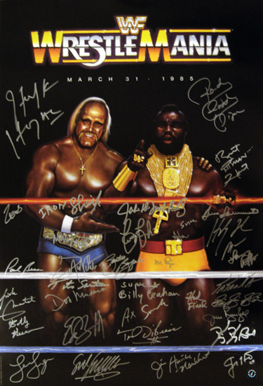 Hulk Hogan & WWE Wrestlemania Legends Autographed Poster