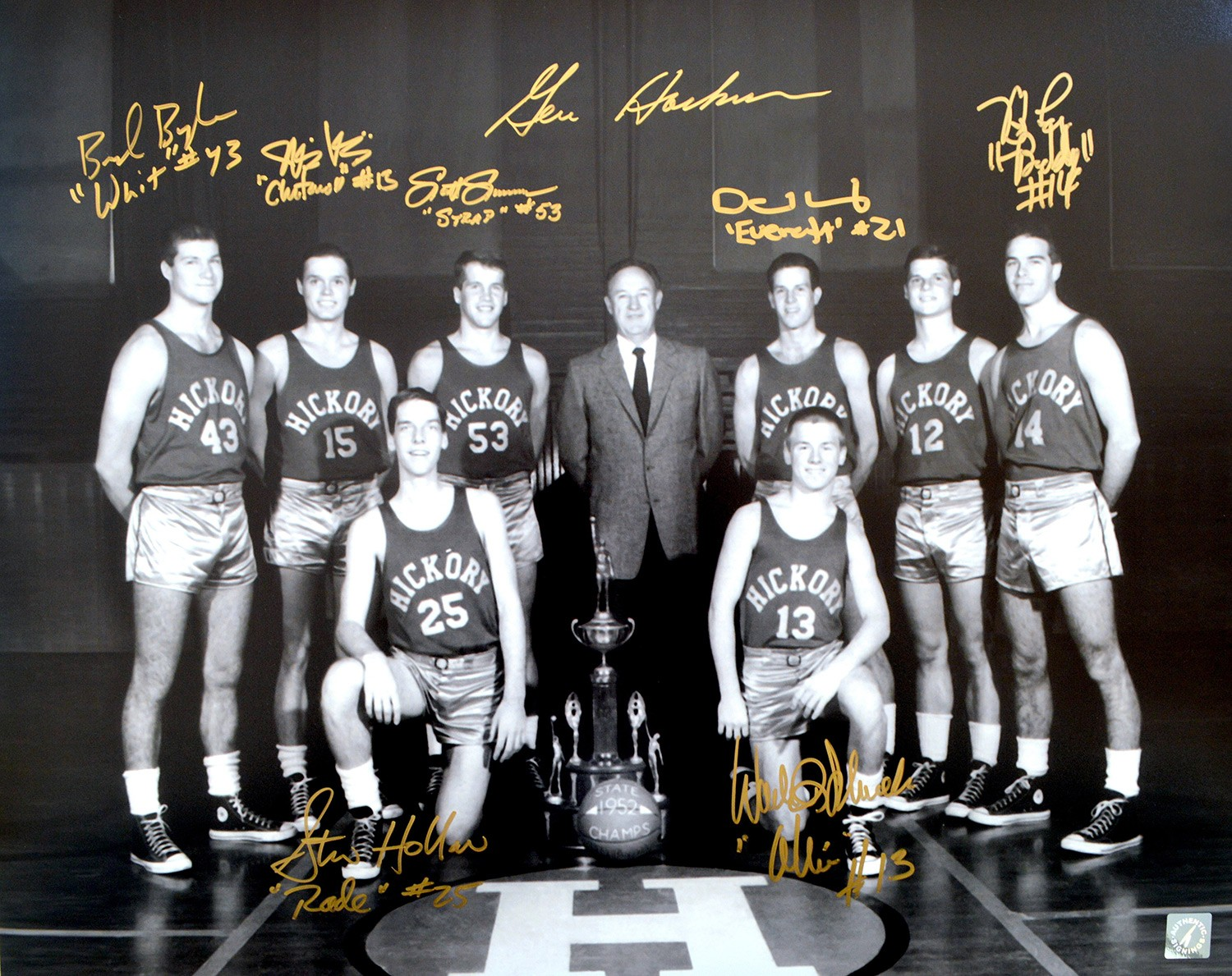 Gene Hackman & Hoosiers Cast Autographed Hickory Huskers 16x20 Photo