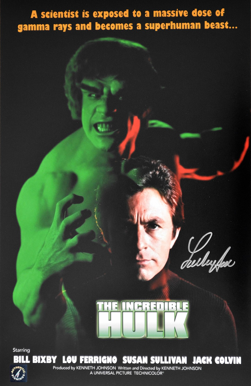 Lou Ferrigno Autographed The Incredible Hulk 11x17 Movie Poster