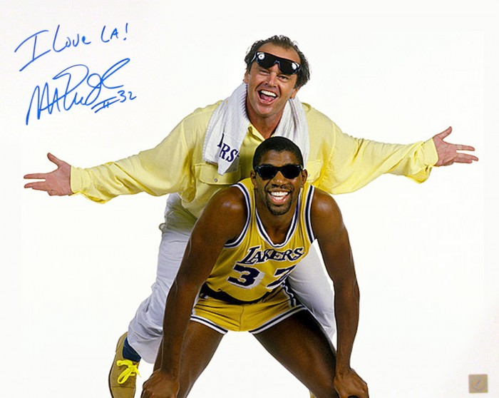 Magic Johnson Autographed 16x20 Photo with Jack Nicholson
