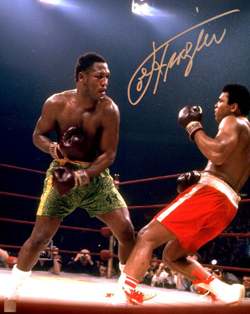 Joe Frazier Autographed 16x20 Photo Knocking Down Muhammad Ali