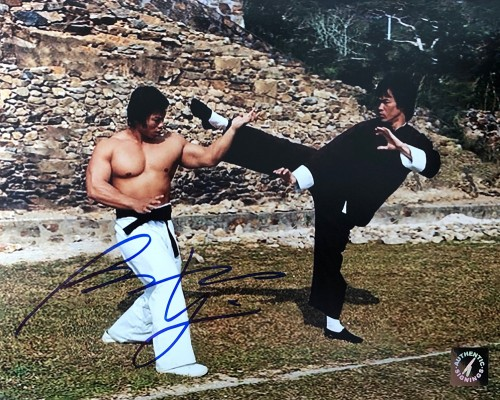 Bolo Yeung Autographed Enter The Dragon Blocking Kick From Bruce Lee 8x10 Photo