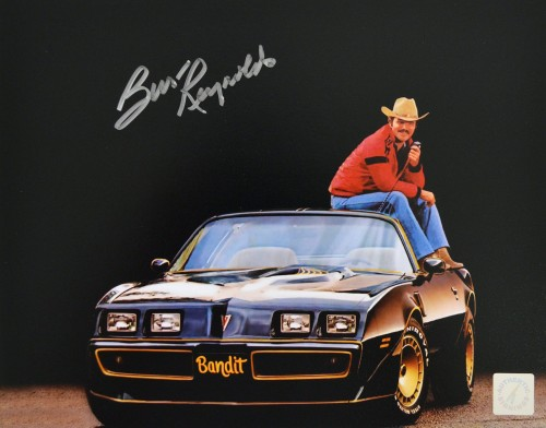 Burt Reynolds Autographed Smokey and The Bandit Trans Am 8x10 Photo