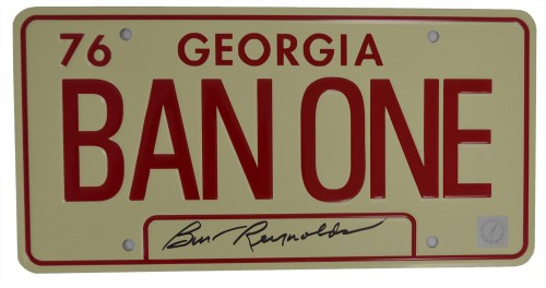 Burt Reynolds Autographed BAN ONE Georgia Smokey and The Bandit License Plate