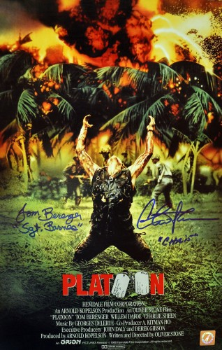 Charlie Sheen & Tom Berenger Autographed Platoon 11x17 Movie Poster