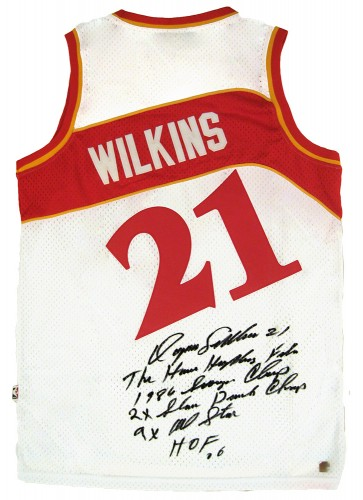 Dominique Wilkins Autographed Official NBA White Hawks Stat Jersey