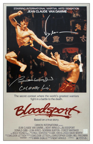 "Bolo Yeung ""Chong Li"" & Jean Claude Van Damme Autographed Bloodsport 16x24 Movie Poster"