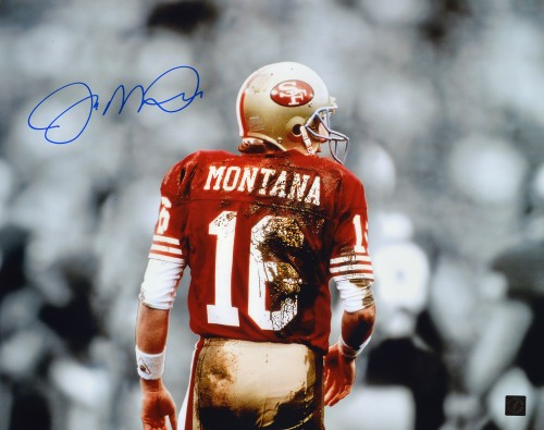 Joe Montana Autographed San Francisco 49ers 16x20 Mud Photo