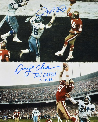 "Joe Montana & Dwight Clark 49ers Autographed ""THE CATCH"" 16x20 Photo"