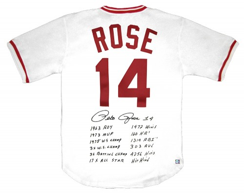 Pete Rose Autographed Official MLB Cincinnati Reds Stat Jersey
