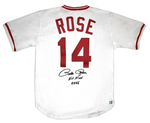 Pete Rose Hit King #4256 Signed Official MLB Cincinnati Reds Jersey