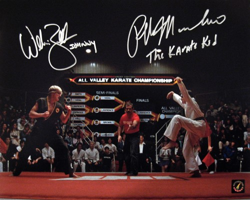 "Ralph Macchio ""The Karate Kid"" & William Zabka ""Johnny"" Autographed Crane Kick 11x14 Photo"