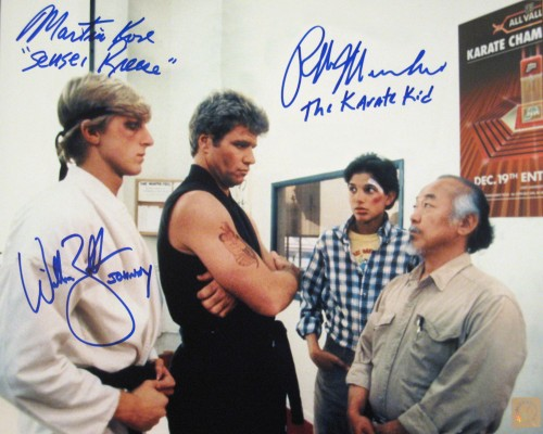 "Ralph Macchio ""The Karate Kid"", William Zabka ""Johnny"" & Martin Kove ""Sensei Kreese"" Autographed Dojo 11x14 Photo"