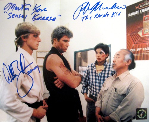 "Ralph Macchio ""The Karate Kid"", William Zabka ""Johnny"" & Martin Kove ""Sensei Kreese"" Autographed Dojo 8x10 Photo"