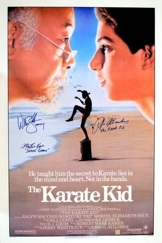 "Ralph Macchio ""The Karate Kid"", William Zabka ""Johnny"" & Martin Kove ""Sensei Kreese"" Autographed Movie Poster"