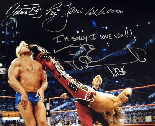"""I'm Sorry, I Love You"" Shawn Michaels & ""Nature Boy Ric Flair 16X Wooooo"" Autographed 16x20 Photo"
