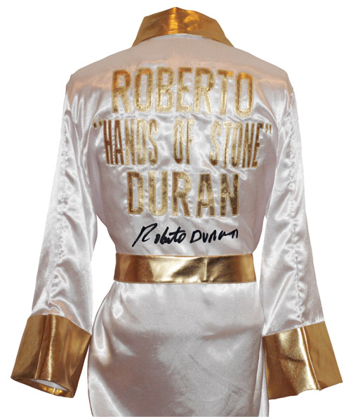 Roberto Duran Autographed White Boxing Robe