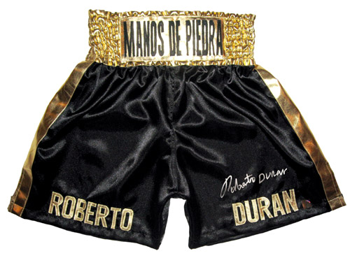 Roberto Duran Autographed Black Boxing Trunks