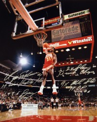 Dominique Wilkins Autographed Slam Dunk 16x20 Stat Photo
