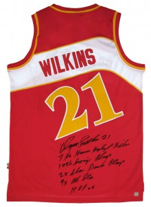 Dominique Wilkins Autographed Official NBA Red Hawks Stat Jersey