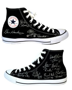 Gene Hackman & Hoosiers Cast Autographed Hickory Huskers Converse Basketball Sneaker