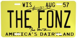 "Henry Winkler ""The Fonz"" Happy Days Autographed Wisconsin Car License Plate"