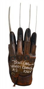 "Robert Englund Autographed NOES Part 3 Freddy Krueger Metal Glove With ""42 Kills"" Inscription"