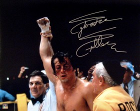 "Sylvester Stallone Autographed ROCKY 16x20 Photo ""ARM RAISED"""
