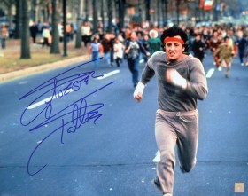 "Sylvester Stallone Autographed ROCKY 16x20 Photo ""RUNNING THROUGH PHILADELPHIA"""