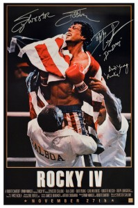 "Sylvester Stallone,Dolph Lundgren ""Ivan Drago"" & Burt Young ""Paulie"" Signed ROCKY IV 24x36 Movie Poster"