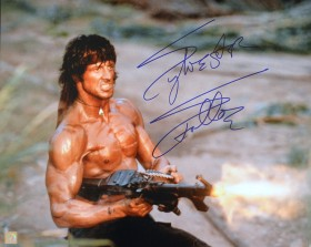 "Sylvester Stallone Autographed RAMBO II ""SHOOTING MACHINE GUN"" 16x20 Photo"