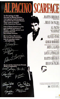 SCARFACE Cast Autographed Movie Poster